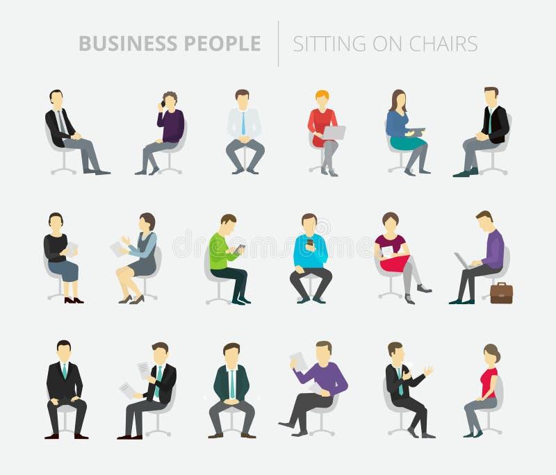 People set work sitting on chairs stock illustration