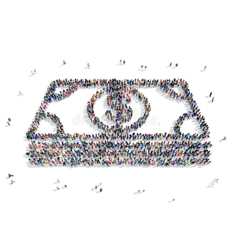 People shape bundle money dollars vector illustration