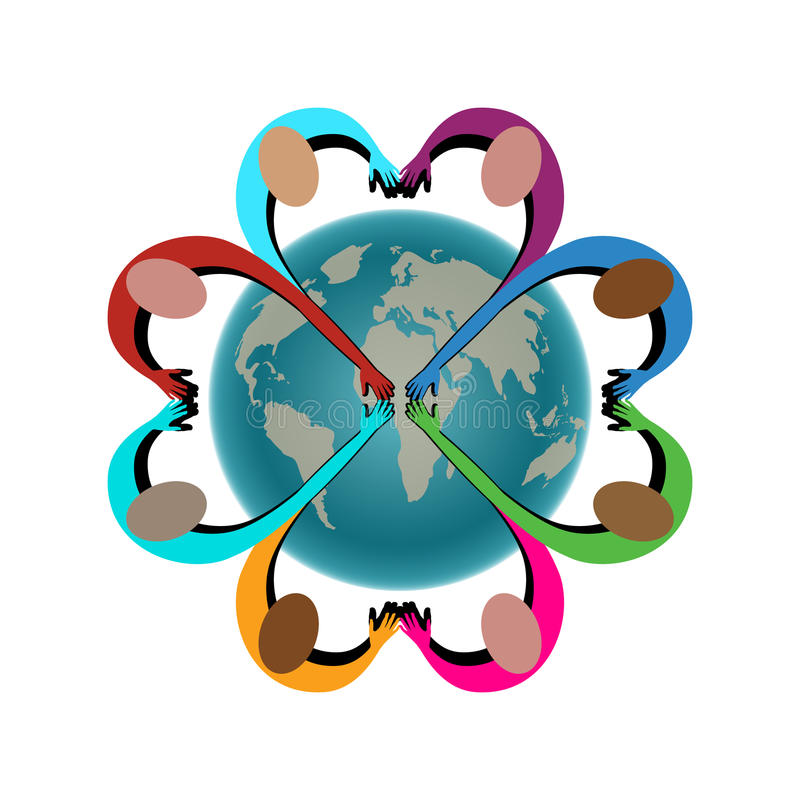 People in shape of heart joining hands over globe. People joining hands peace cooperation love concept isolated stock illustration