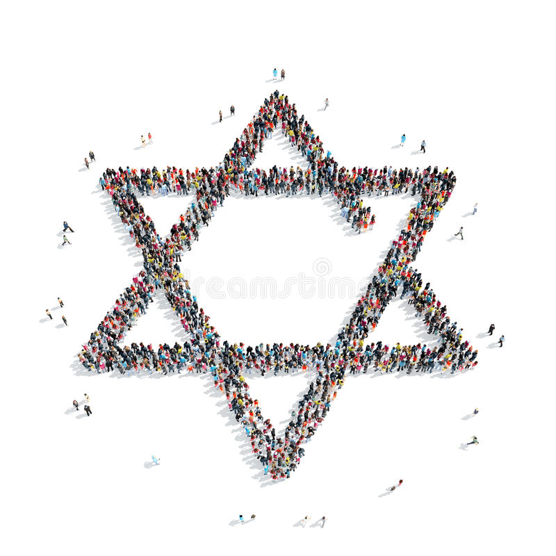 People in the shape of a Jewish star, religion royalty free stock photos