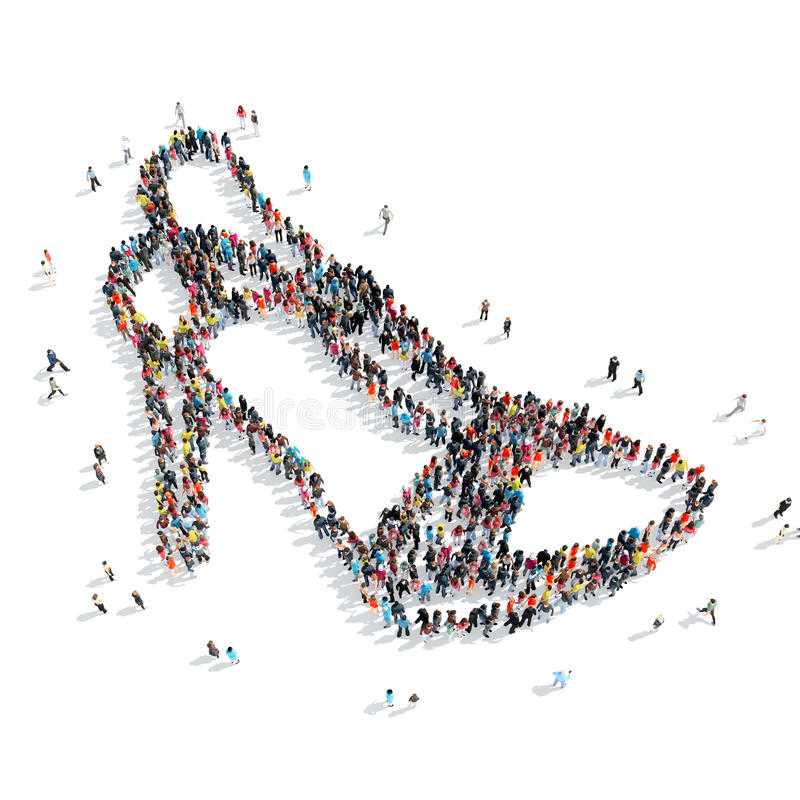 People shape shoes cartoon. A group of people in the shape of shoes, cartoon, isolated, white background vector illustration