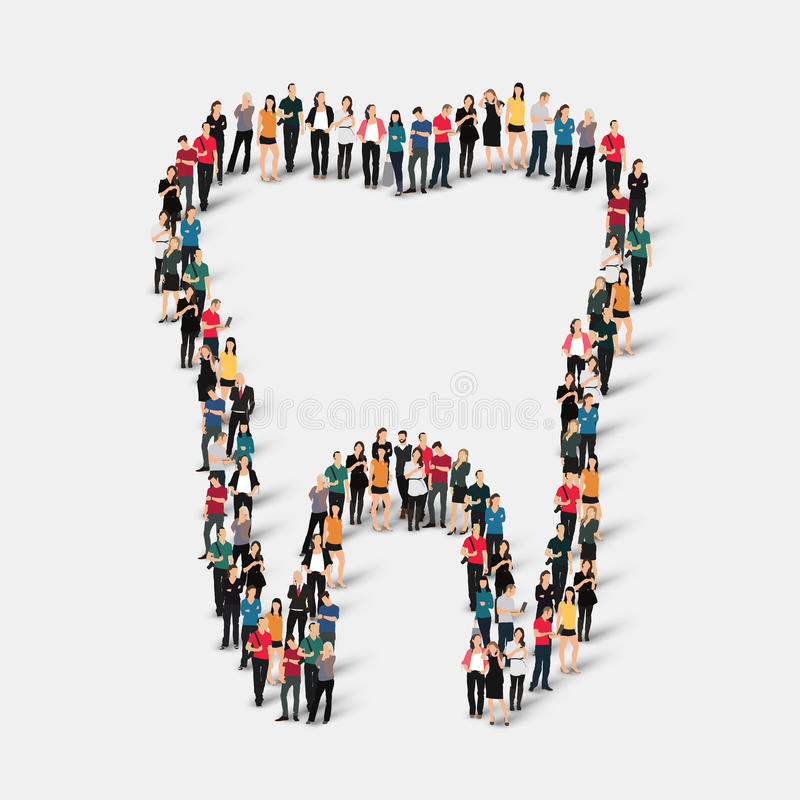 People shape tooth dental stock illustration