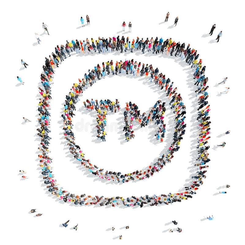People in the shape of a trade mark. A group of people in the shape of a trade mark, a flash mob stock illustration