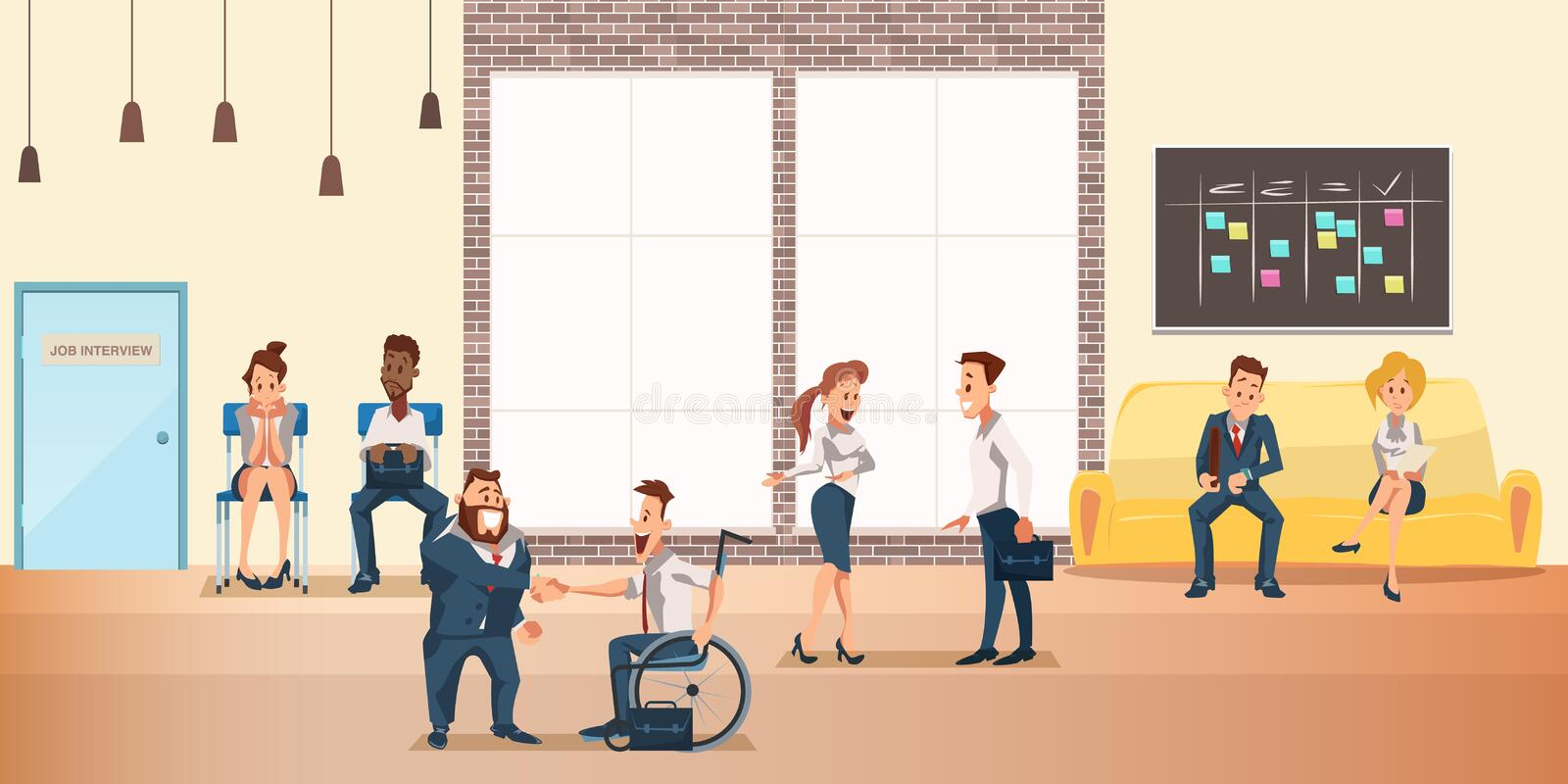People at Shared Coworking Space, Creative Office vector illustration