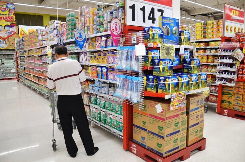 People shop at Big C hypermarket in Bangkok royalty free stock photography