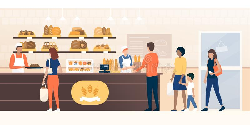 People shopping in the bakery royalty free illustration