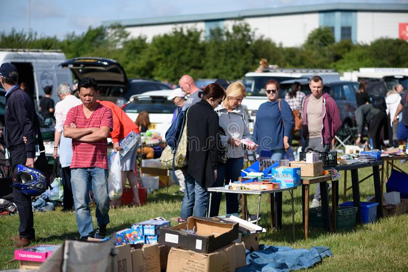 People Shopping at a Car Boot Sale stock photo