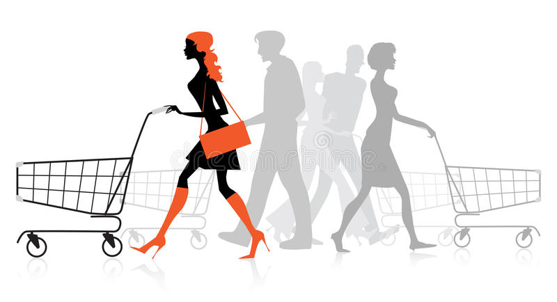 Download People With Shopping Charts Royalty Free Stock Photos - Image: 28418748