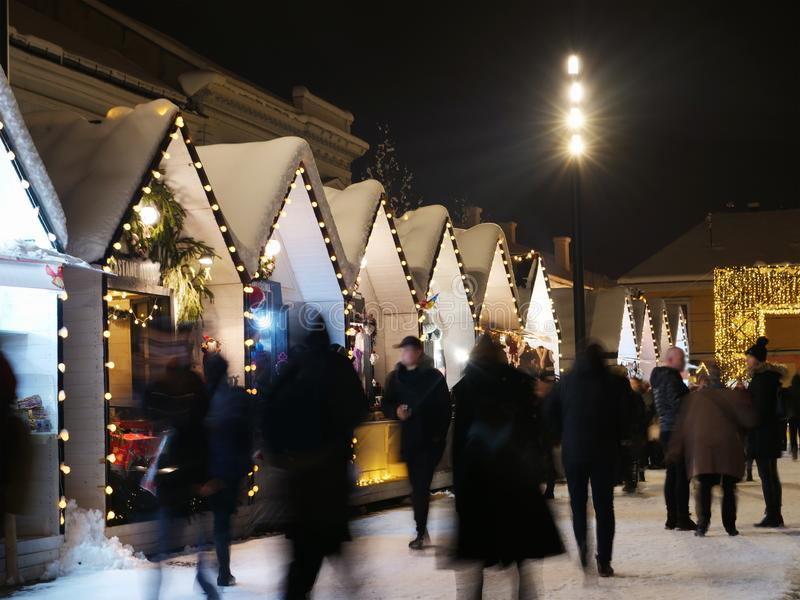 People shopping at the Christmas market stock photos