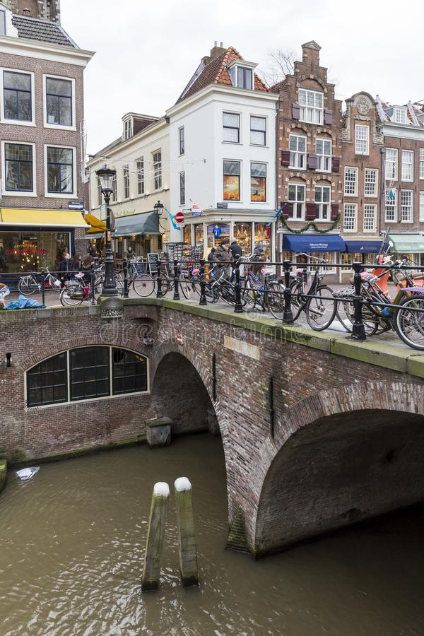 People shopping close to a canal in Utrecht, Netherlands stock photo