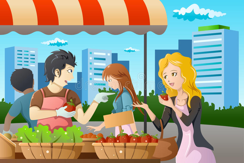 People shopping in farmers market. A vector illustration of people shopping in a outdoor farmers market royalty free illustration