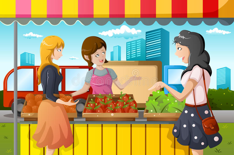 People shopping in farmers market. A vector illustration of people shopping in a outdoor farmers market stock illustration