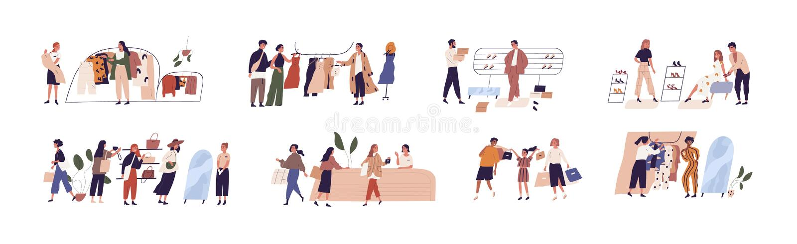 People shopping flat vector illustrations set. Happy boutique customers and friendly sellers cartoon characters vector illustration