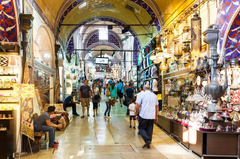 People shopping, Grand Bazaar, Istanbul, Turkey royalty free stock images