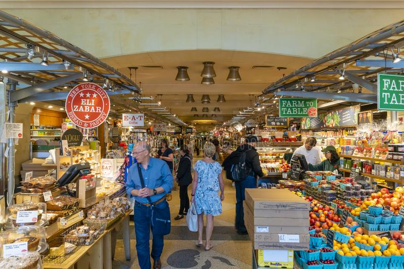 People shopping at Grand Central Market in New York City stock images