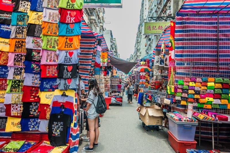 People shopping ladies market Mong Kok Kowloon Hong Kong. Kowloon, Hong Kong, China- june 9, 2014: people shopping at ladies market mong kok stock photography