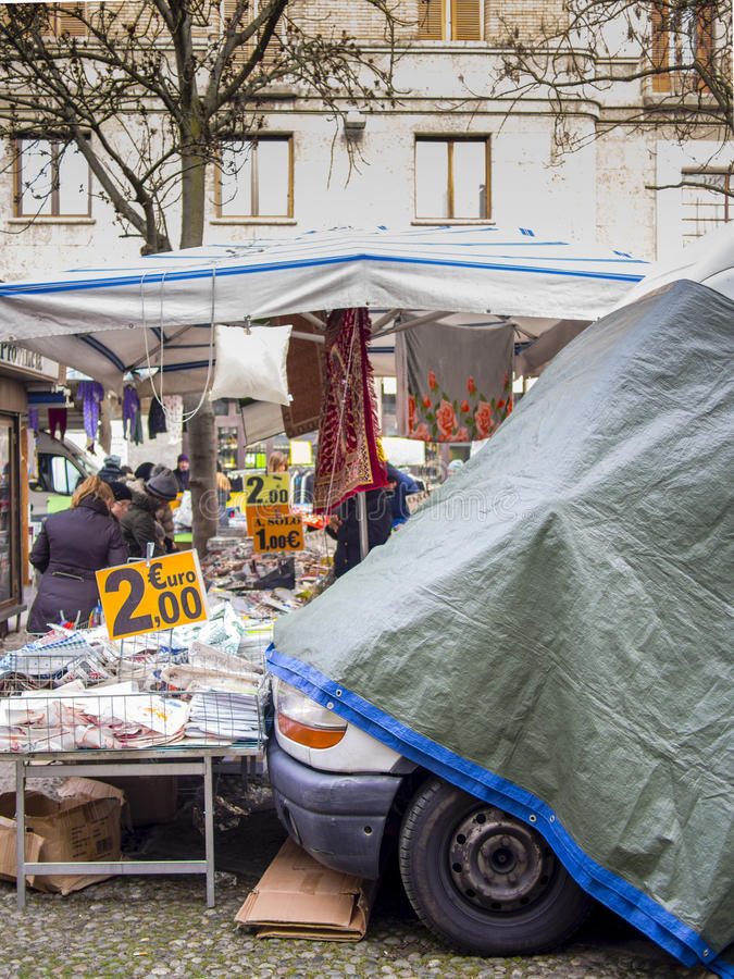 People shopping at the local street market of Cremona, Lombardy Italt. royalty free stock photos
