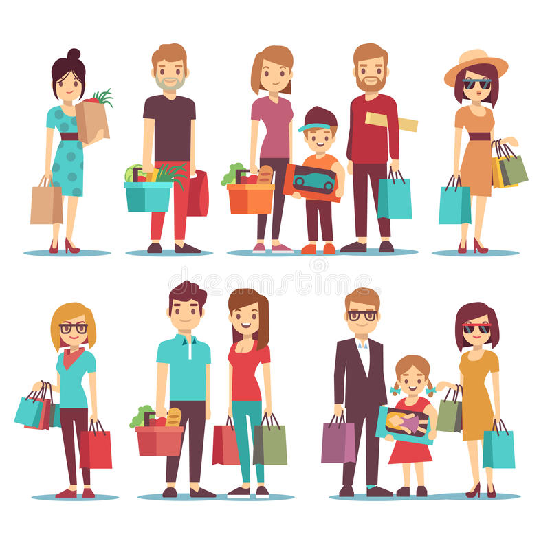 Cartoon Characters Mixed Together : People shopping in mall vector cartoon characters set