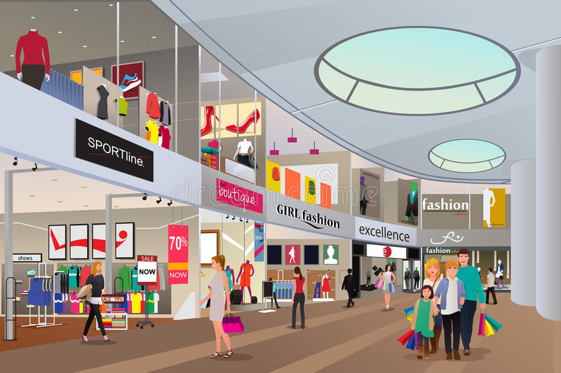 People shopping in a mall royalty free illustration