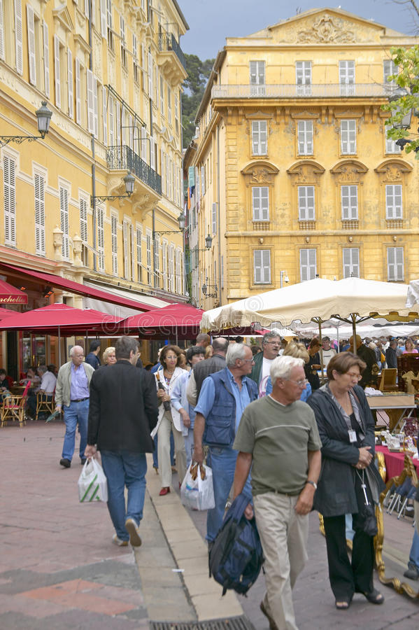 People shopping near Antique Market, Nice, France stock photos