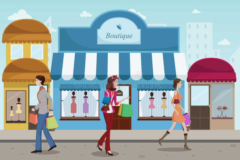 People shopping in an outdoor mall with French boutique style stock illustration