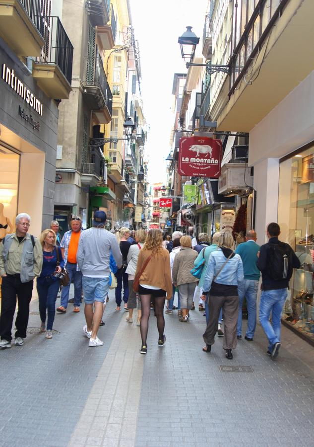 Shopping paradise in Palma, Mallorca, Spain. People are shopping in the city centre of Palma de Mallorca, the isle of Mallorca (Majorca), Spain stock image