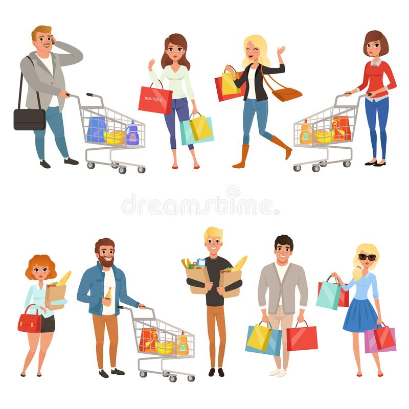 People shopping set. Flat cartoon characters in supermarket with shopping carts and paper bags with food. Vector stock illustration