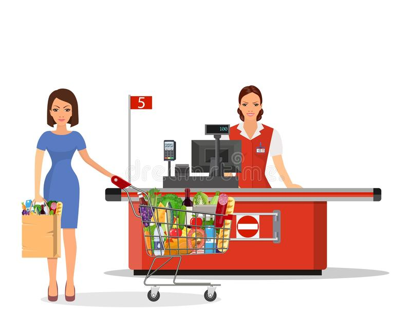 People Shopping in supermarket. royalty free illustration