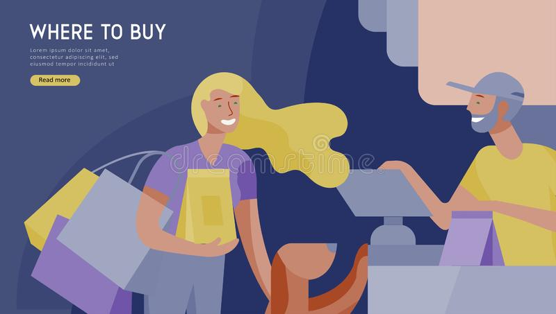 People Shopping in supermarket. Woman in supermarket with cashier, where to buy concept of customer and shop assistant stock illustration