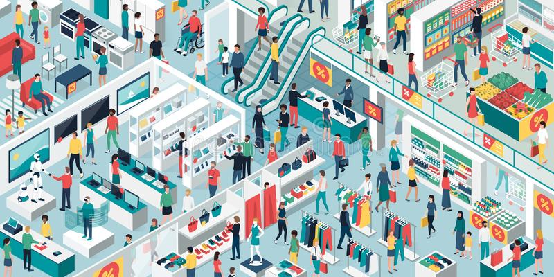 People shopping together at the shopping mall. Happy people shopping together at the shopping mall and clearance sale: electronics, clothing, home furnishing and stock illustration