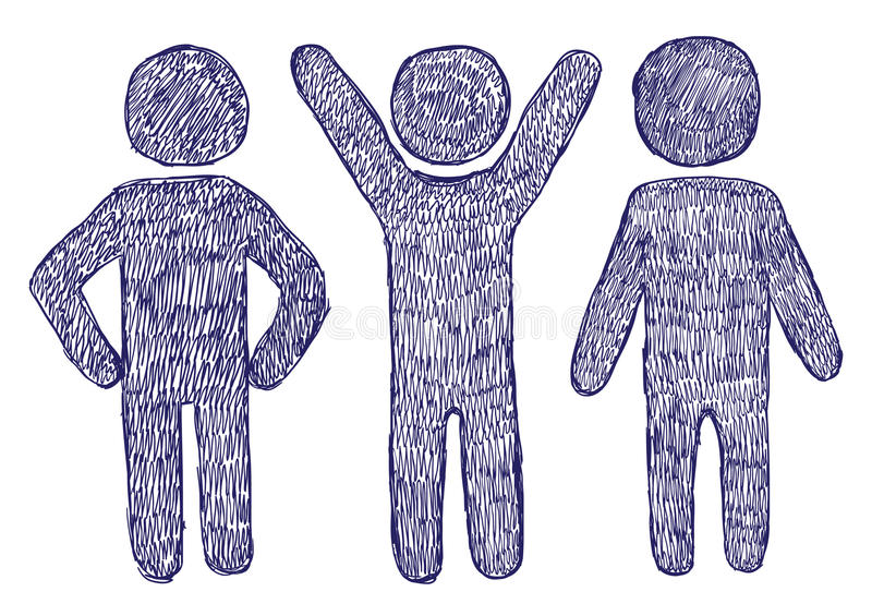People Signs. Hand drawn posing people signs royalty free illustration