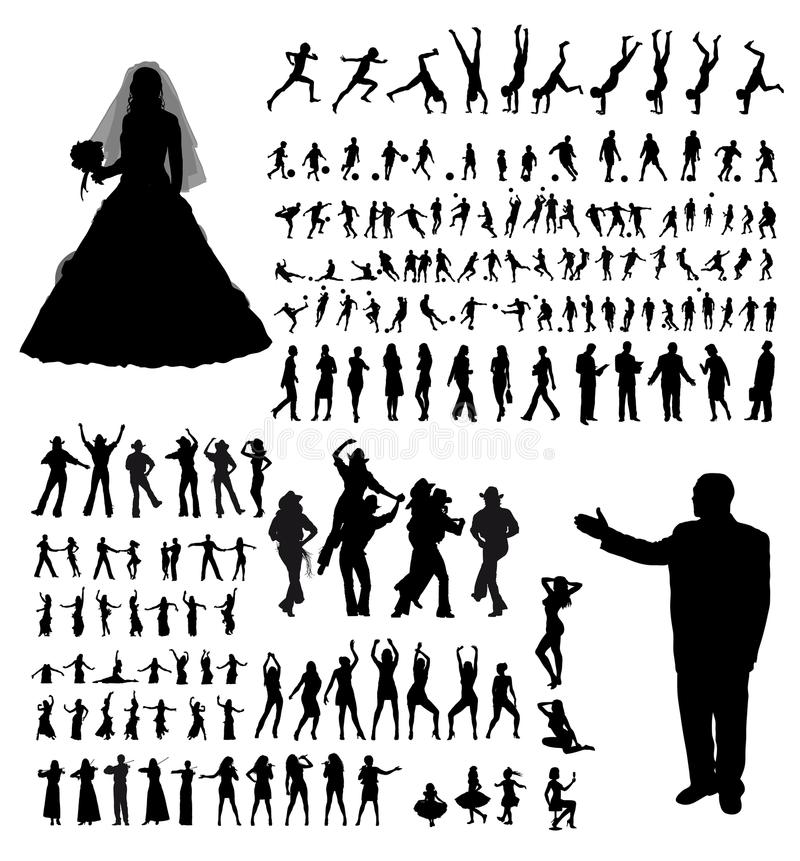 People silhouette collection stock illustration