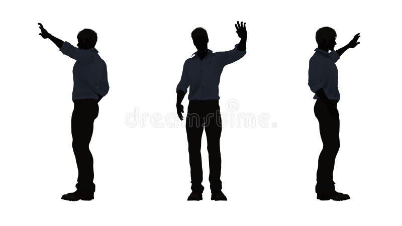 People silhouette - man say hallo royalty free illustration