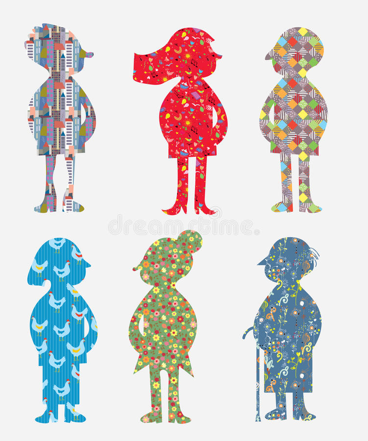 People silhouette set with concepts and ideas. Illustration stock illustration