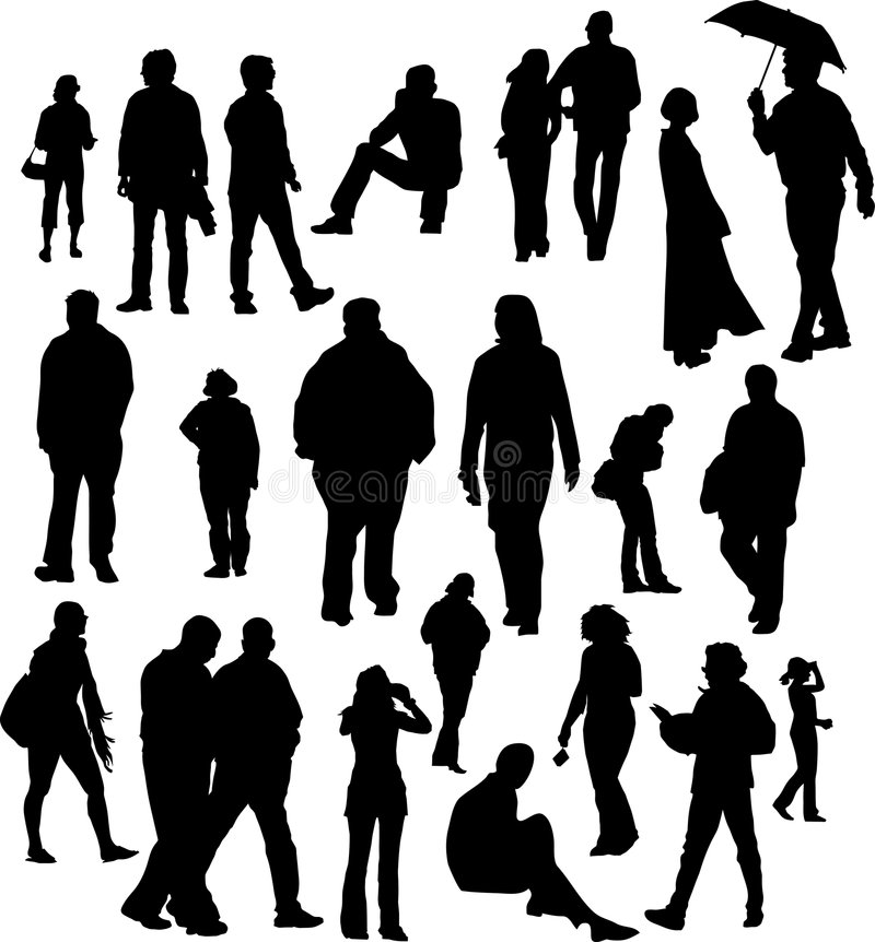 People silhouettes royalty free illustration