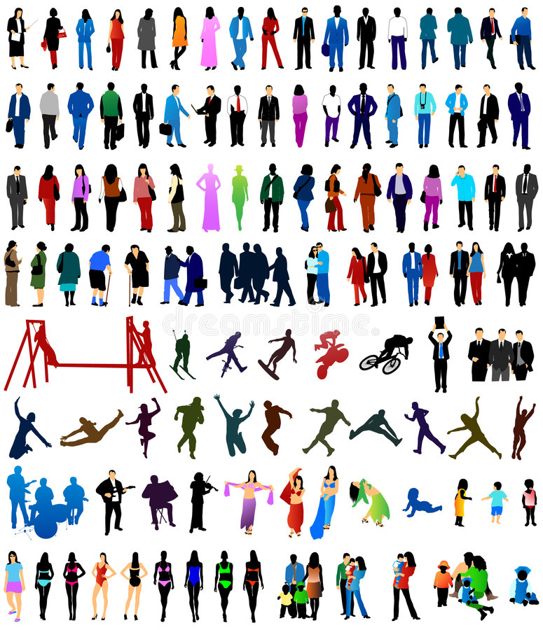 People silhouettes stock illustration