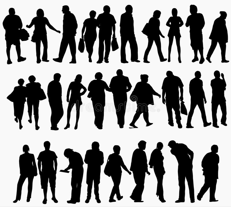People silhouettes collection royalty free illustration