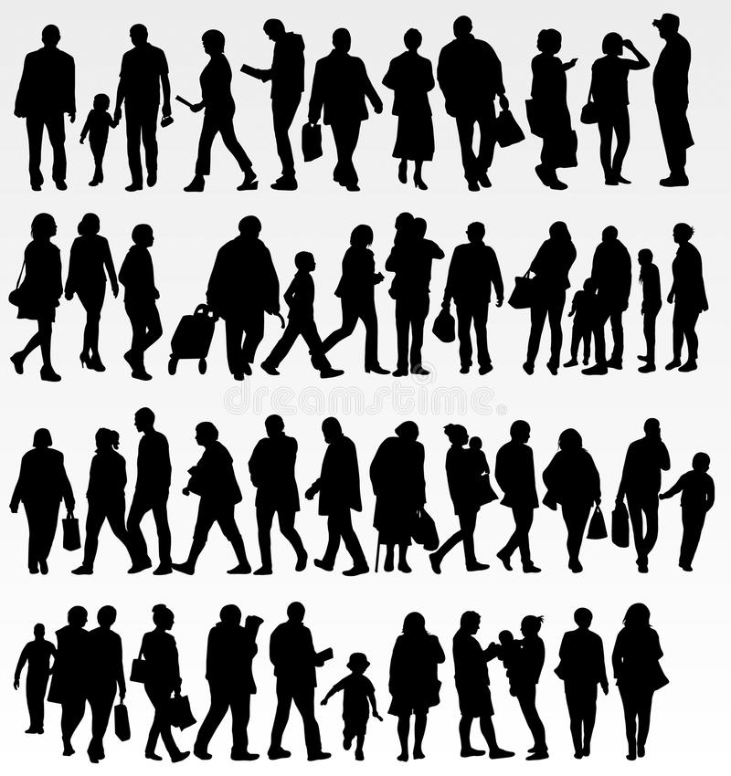 People silhouettes collection vector illustration