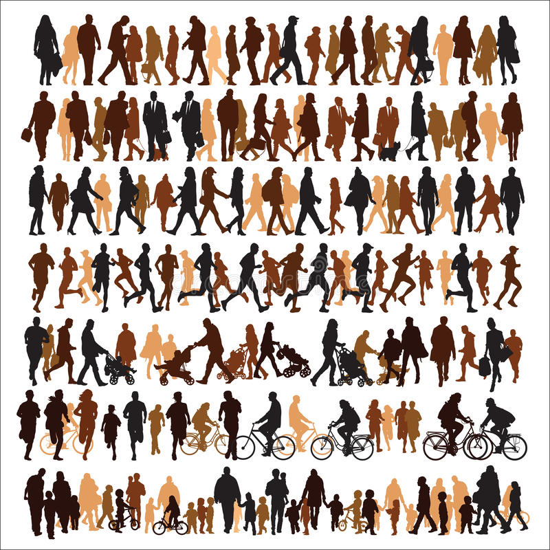 Download People silhouettes stock vector. Image of clip, bike - 37897942