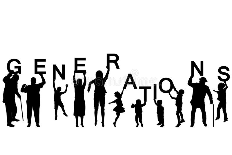 People silhouettes of different ages holding the letters of the. Word GENERATIONS on white background royalty free illustration