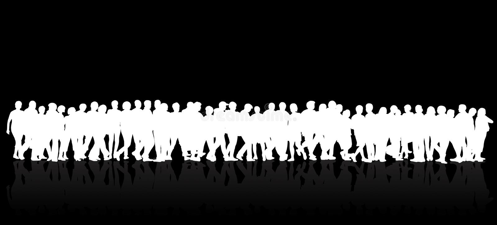 People silhouettes group women and men vector illustration