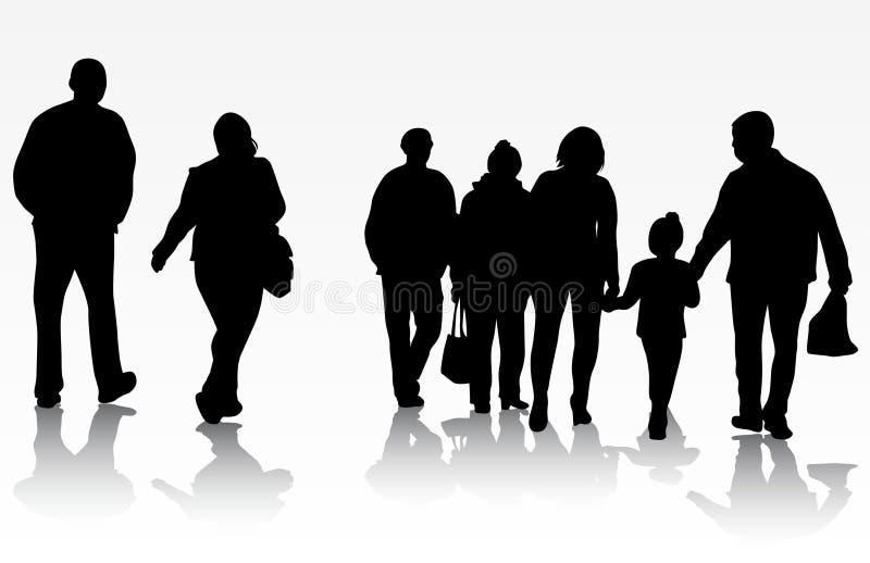 People silhouettes stock illustration