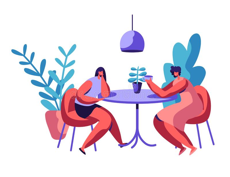 People Sit at Cafeteria Table Drink Coffee or Tea Talk Set. Business Man and Woman have Lunch Break Lovers Couple Dinner stock illustration