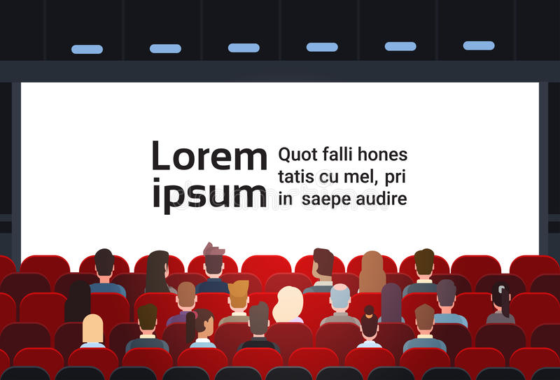 People Sit Cinema Hall Back Rear View Looking Ar Screen With Copy Space. Flat Vector Illustration royalty free illustration