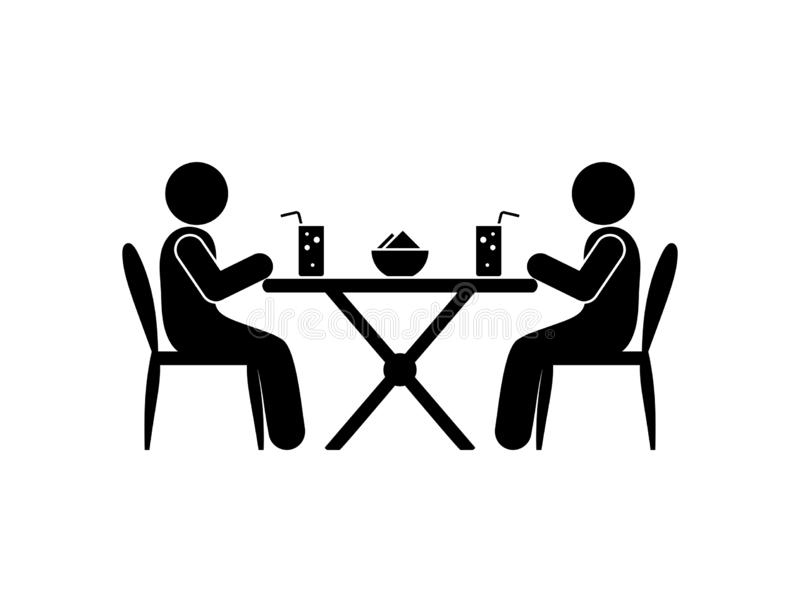 People sit in a restaurant, have lunch, sticks figure human silhouettes, cafe illustration, drinks on the table royalty free illustration