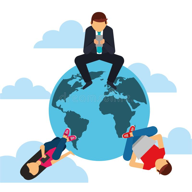 People sitting around world with devices social media concept stock illustration