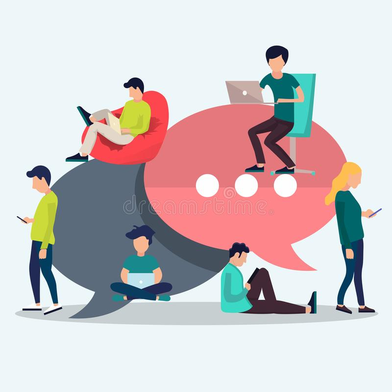 People sitting on big speech bubbles. Social network web site. Surfing concept illustration of young people. People sitting on big symbols. Social network web vector illustration