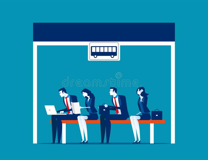 People sitting at the bus stop; Concept business vector illustration; Flat business cartoon; Transportation; Station; Salary stock illustration