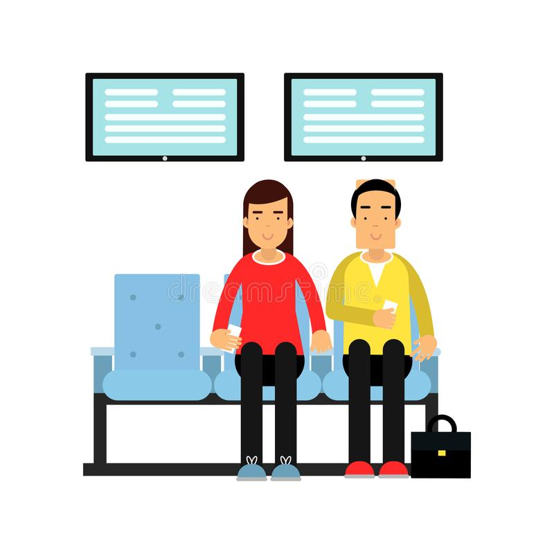 People sitting on chairs and holding queue number in hand. Waiting room for bank customers. Woman and man characters royalty free illustration