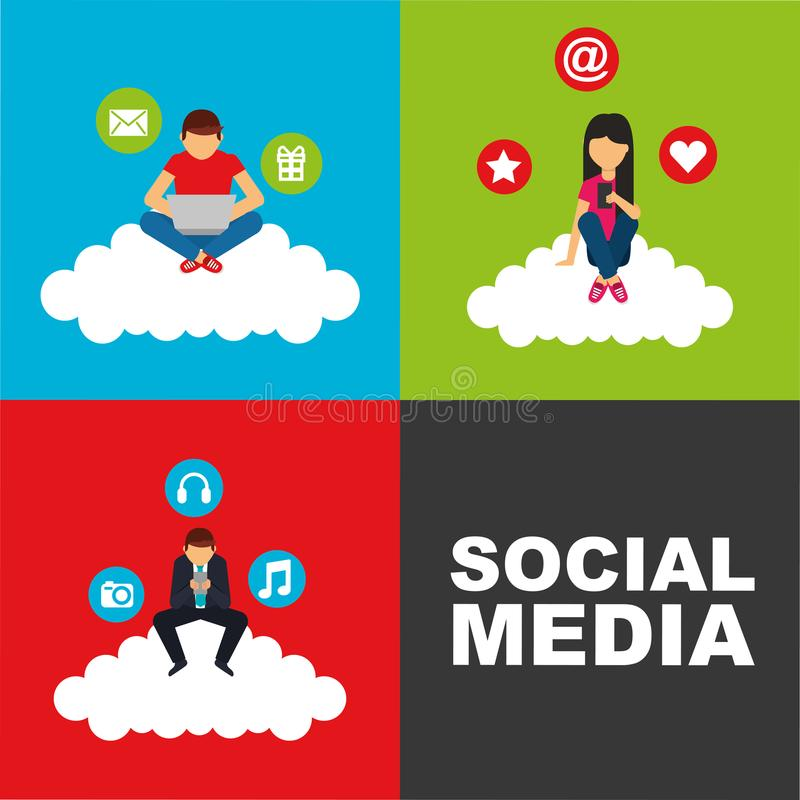 People sitting in cloud with device technology social media. Vector illustration royalty free illustration